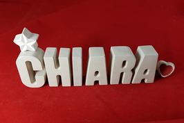 Beton, Steinguss Buchstaben 3D Deko Namen CHIARA als Geschenk verpackt!