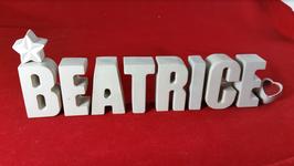 Beton, Steinguss Buchstaben 3D Deko Stern Namen BEATRICE als Geschenk verpackt!