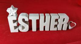 Beton, Steinguss Buchstaben 3D Deko Namen ESTHER als Geschenk verpackt mit Stern und Herzklammer!