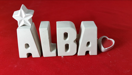 Beton, Steinguss Buchstaben 3D Deko Stern Namen ALBA als Geschenk verpackt!