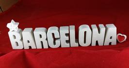 Beton, Steinguss Buchstaben 3D Deko Stern Namen BARCELONA als Geschenk verpackt!