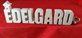 Beton, Steinguss Buchstaben 3D Deko Namen EDELGARD als Geschenk verpackt mit Stern und Herzklammer!