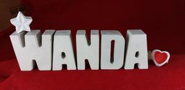 Beton, Steinguss Buchstaben 3D Deko Namen WANDA als Geschenk verpackt mit Stern und Herzklammer!