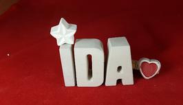 Beton, Steinguss Buchstaben 3D Deko Namen IDA als Geschenk verpackt mit Stern und Herzklammer!