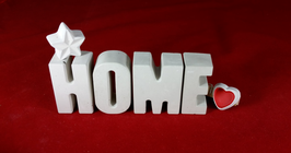 Beton, Steinguss Buchstaben 3D Deko Stern Namen HOME als Geschenk verpackt!