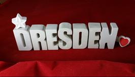 Beton, Steinguss Buchstaben 3D Deko Stern Namen DRESDEN als Geschenk verpackt!