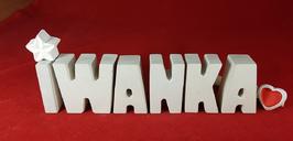 Beton, Steinguss Buchstaben 3D Deko Namen IWANKA als Geschenk verpackt mit Stern und Herzklammer!