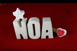 Beton, Steinguss Buchstaben 3D Deko Namen NOA als Geschenk verpackt!