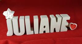 Beton, Steinguss Buchstaben 3D Deko Namen JULIANE als Geschenk verpackt mit Stern und Herzklammer!