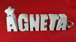 Beton, Steinguss Buchstaben 3D Deko Stern Namen AGNETA als Geschenk verpackt!