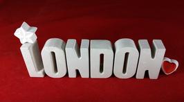 Beton, Steinguss Buchstaben 3D Deko Stern Namen LONDON als Geschenk verpackt!