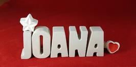 Beton, Steinguss Buchstaben 3D Deko Namen JOANA als Geschenk verpackt mit Stern und Herzklammer!