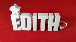 Beton, Steinguss Buchstaben 3D Deko Namen EDITH als Geschenk verpackt mit Stern und Herzklammer!