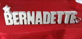 Beton, Steinguss Buchstaben 3D Deko Stern Namen BERNADETTE als Geschenk verpackt!