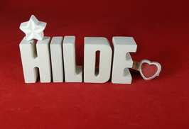 Beton, Steinguss Buchstaben 3D Deko Namen HILDE als Geschenk verpackt mit Stern und Herzklammer!