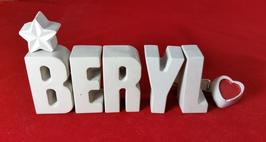 Beton, Steinguss Buchstaben 3D Deko Stern Namen BERYL als Geschenk verpackt!