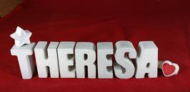 Beton, Steinguss Buchstaben 3D Deko Namen THERESA als Geschenk verpackt mit Stern und Herzklammer!