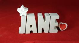 Beton, Steinguss Buchstaben 3D Deko Namen JANE als Geschenk verpackt mit Stern und Herzklammer!