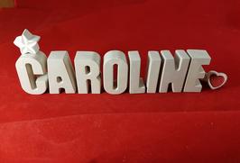Beton, Steinguss Buchstaben 3D Deko Namen CAROLINE als Geschenk verpackt!