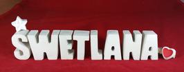 Beton, Steinguss Buchstaben 3D Deko Namen SWETLANA als Geschenk verpackt mit Stern und Herzklammer!