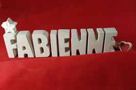 Beton, Steinguss Buchstaben 3D Deko Namen FABIENNE als Geschenk verpackt mit Stern und Herzklammer!