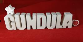 Beton, Steinguss Buchstaben 3D Deko Namen GUNDULA als Geschenk verpackt mit Stern und Herzklammer!
