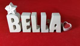 Beton, Steinguss Buchstaben 3D Deko Stern Namen BELLA als Geschenk verpackt!