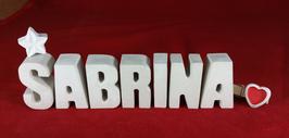 Beton, Steinguss Buchstaben 3D Deko Namen SABRINA als Geschenk verpackt mit Stern und Herzklammer!