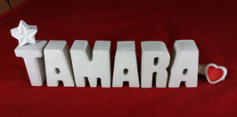 Beton, Steinguss Buchstaben 3D Deko Namen TAMARA als Geschenk verpackt mit Stern und Herzklammer!