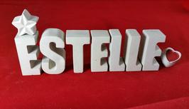 Beton, Steinguss Buchstaben 3D Deko Namen ESTELLE als Geschenk verpackt mit Stern und Herzklammer!