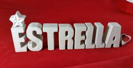 Beton, Steinguss Buchstaben 3D Deko Namen ESTRELLA als Geschenk verpackt mit Stern und Herzklammer!