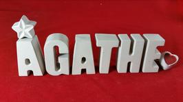 Beton, Steinguss Buchstaben 3D Deko Stern Namen AGATHE als Geschenk verpackt!