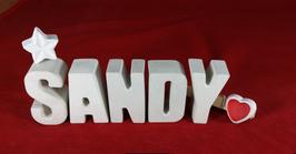 Beton, Steinguss Buchstaben 3D Deko Namen SANDY als Geschenk verpackt mit Stern und Herzklammer!