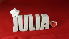 Beton, Steinguss Buchstaben 3D Deko Namen JULIA als Geschenk verpackt mit Stern und Herzklammer!