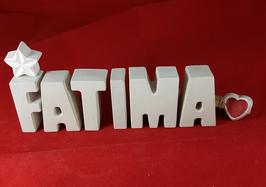 Beton, Steinguss Buchstaben 3D Deko Namen FATIMA als Geschenk verpackt mit Stern Und Herzklammer!