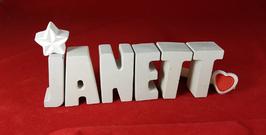 Beton, Steinguss Buchstaben 3D Deko Namen JANETT als Geschenk verpackt mit Stern und Herzklammer!