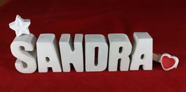 Beton, Steinguss Buchstaben 3D Deko Namen SANDRA als Geschenk verpackt mit Stern und Herzklammer!