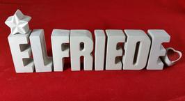 Beton, Steinguss Buchstaben 3D Deko Namen ELFRIEDE als Geschenk verpackt mit Stern und Herzklammer!