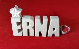 Beton, Steinguss Buchstaben 3D Deko Namen ERNA als Geschenk verpackt mit Stern und Herzklammer!