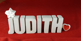 Beton, Steinguss Buchstaben 3D Deko Namen JUDITH als Geschenk verpackt mit Stern und Herzklammer!