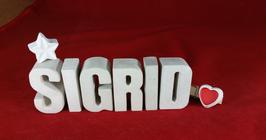 Beton, Steinguss Buchstaben 3D Deko Namen SIGRID als Geschenk verpackt mit Stern und Herzklammer!