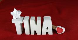 Beton, Steinguss Buchstaben 3D Deko Namen TINA als Geschenk verpackt mit Stern und Herzklammer!