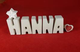 Beton, Steinguss Buchstaben 3D Deko Namen HANNA als Geschenk verpackt mit Stern und Herzklammer!