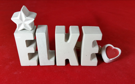 Beton, Steinguss Buchstaben 3D Deko Namen ELKE als Geschenk verpackt mit Stern und Herzklammer!
