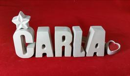 Beton, Steinguss Buchstaben 3D Deko Namen CARLA als Geschenk verpackt!