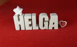 Beton, Steinguss Buchstaben 3D Deko Namen HELGA als Geschenk verpackt mit Stern und Herzklammer!