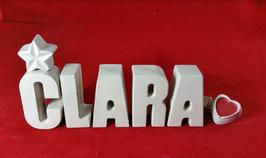 Beton, Steinguss Buchstaben 3D Deko Namen CLARA als Geschenk verpackt!
