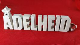 Beton, Steinguss Buchstaben 3D Deko Stern Namen ADELHEID als Geschenk verpackt!