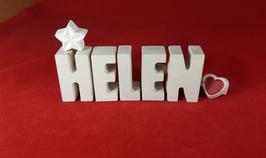 Beton, Steinguss Buchstaben 3D Deko Namen HELEN als Geschenk verpackt mit Stern und Herzklammer!