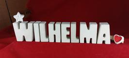 Beton, Steinguss Buchstaben 3D Deko Namen WILHELMA als Geschenk verpackt mit Stern und Herzklammer!